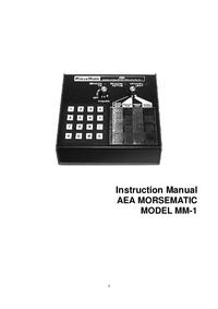 Service and User Manual AEA Morsematic MM-1