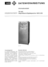 Service and User Manual AEG MDS 252