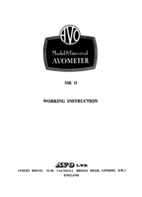 Servicio y Manual del usuario AVO Model 8 MK II