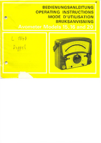 Service and User Manual AVO Avometer 15
