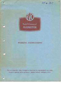 Service et Manuel de l'utilisateur AVO Avometer 8