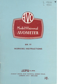 Service and User Manual AVO Avometer 8 MK III