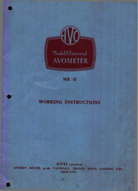 Service and User Manual AVO AVOMETER Mk II
