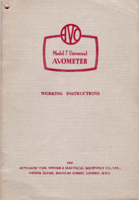 Service and User Manual AVO Avometer 7
