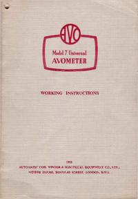 Service et Manuel de l'utilisateur AVO Avometer 7
