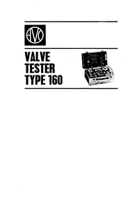 Service and User Manual AVO Valve Tester Type 160