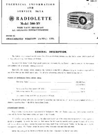 Serviceanleitung AWA Radiolette 500-MY