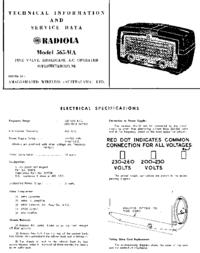 Service et Manuel de l'utilisateur AWA RADIOLA 565-MA