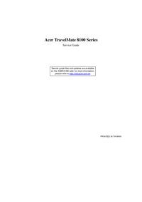 Руководство по техническому обслуживанию Acer TravelMate 8100 Series
