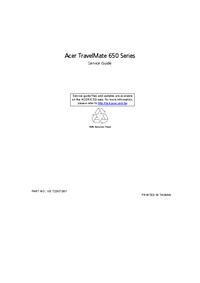 Service Manual Acer TravelMate 650 Series