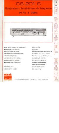 Технический паспорт Adret CS 201 S