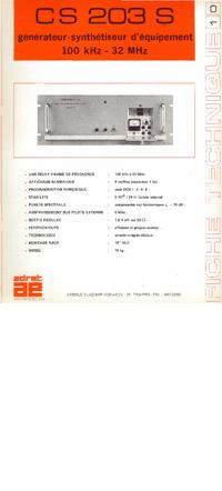 Технический паспорт Adret CS 203 S