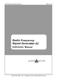 Service and User Manual Advance E2