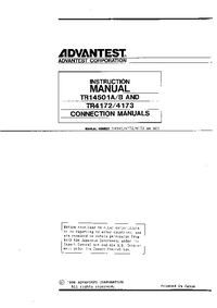 Manuale d'uso Advantest TR14501A