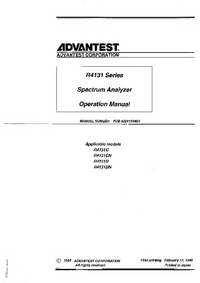 User Manual Advantest R4131DN