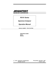 User Manual Advantest R3131A