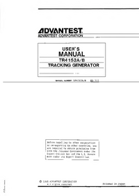 User Manual Advantest TR4153B