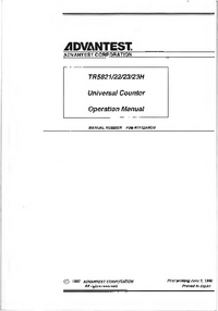 Manuale d'uso Advantest TR5823H