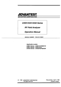 User Manual Advantest U4342PHS
