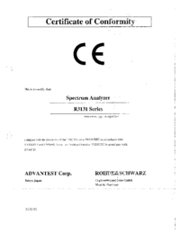 User Manual Advantest R3131 Series