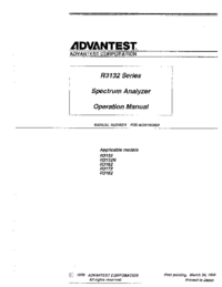User Manual Advantest R3162