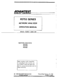 User Manual Advantest R3753E