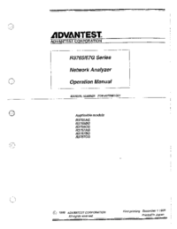 User Manual Advantest R3765BG