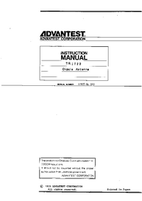 User Manual Advantest TR 1722