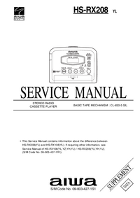 Erweiterung zur Serviceanleitung Aiwa HS-RX208 YL