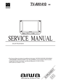 Suplemento Manual de servicio Aiwa TV-AN1410 NH