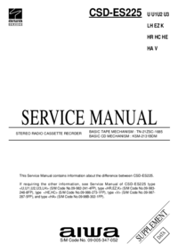 Service Manual Supplement Aiwa CSD-ES225 K
