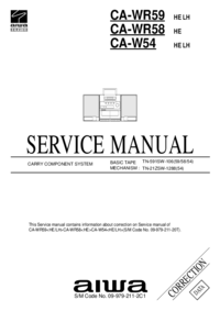 Service Manual Supplement Aiwa CA-W54 HE