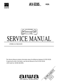 Service Manual Supplement Aiwa AV-D35 HC(N)