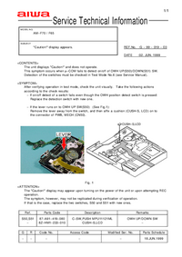 Service Manual Supplement Aiwa AM-F70