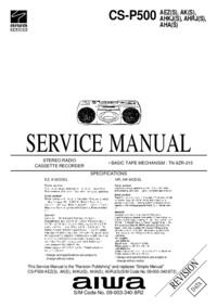 Manuale di servizio Aiwa CS-P500