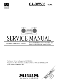 Supplément manuel de réparation Aiwa CA-DW535 U