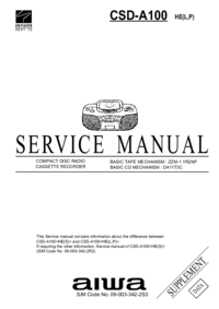 Руководство по техническому обслуживанию Aiwa CSD-A100 HE(P)