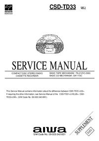 Supplément manuel de réparation Aiwa CSD-TD33 U(L)
