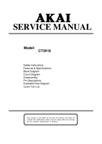 Manual de servicio Akai CT2016