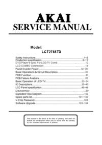 Руководство по техническому обслуживанию Akai LCT2765TD