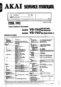 Servicehandboek Akai VS-765
