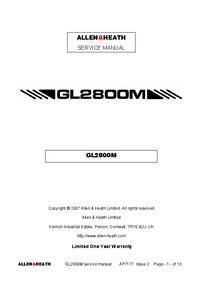 Manuale di servizio Allen GL2800M