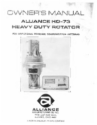 User Manual Alliance HD-73