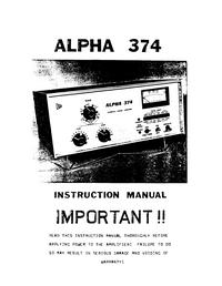 manuel de réparation Alpha ALPHA 374