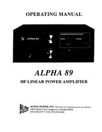 Service et Manuel de l'utilisateur Alpha Alpha 89