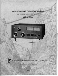 Service and User Manual Alpha Alpha 374A