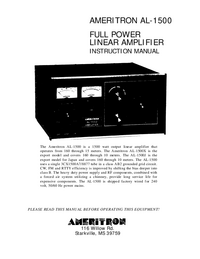 Serwis i User Manual Ameritron AL-1500