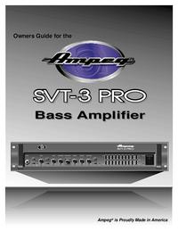 Serviço e Manual do Usuário Ampeg SVT-3 PRO