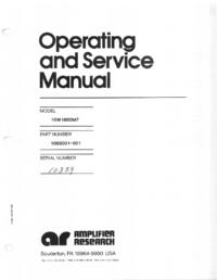 Service- und Bedienungsanleitung AmplifierResearch 10W1000 M7