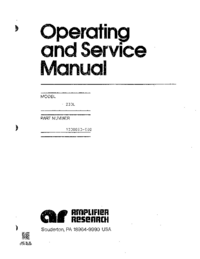 Service and User Manual AmplifierResearch 200L